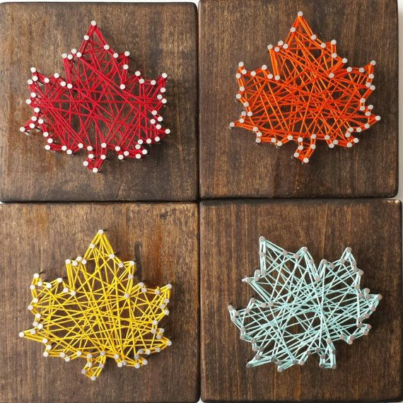 Fall Leaf String Art por HelloSunshineHomeDec en Etsy