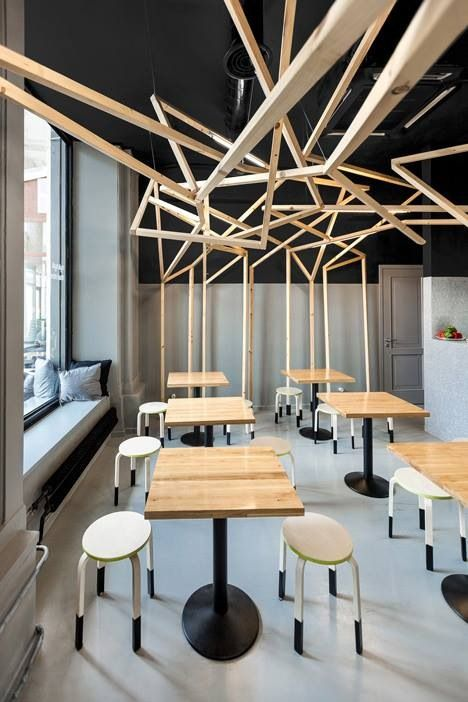 timber poly lines, ceiling, graphic/sculptural