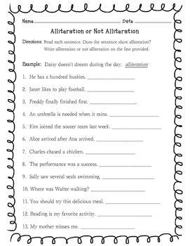 alliteration or not alliteration worksheet grade 2 alliteration worksheets homework. Black Bedroom Furniture Sets. Home Design Ideas