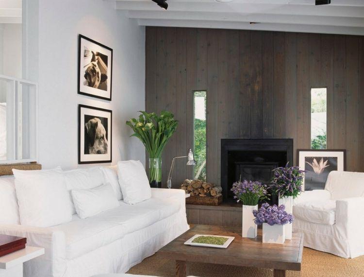 wohnungseinrichtung ideen wandverkleidung grau holz weiss sofa kamin