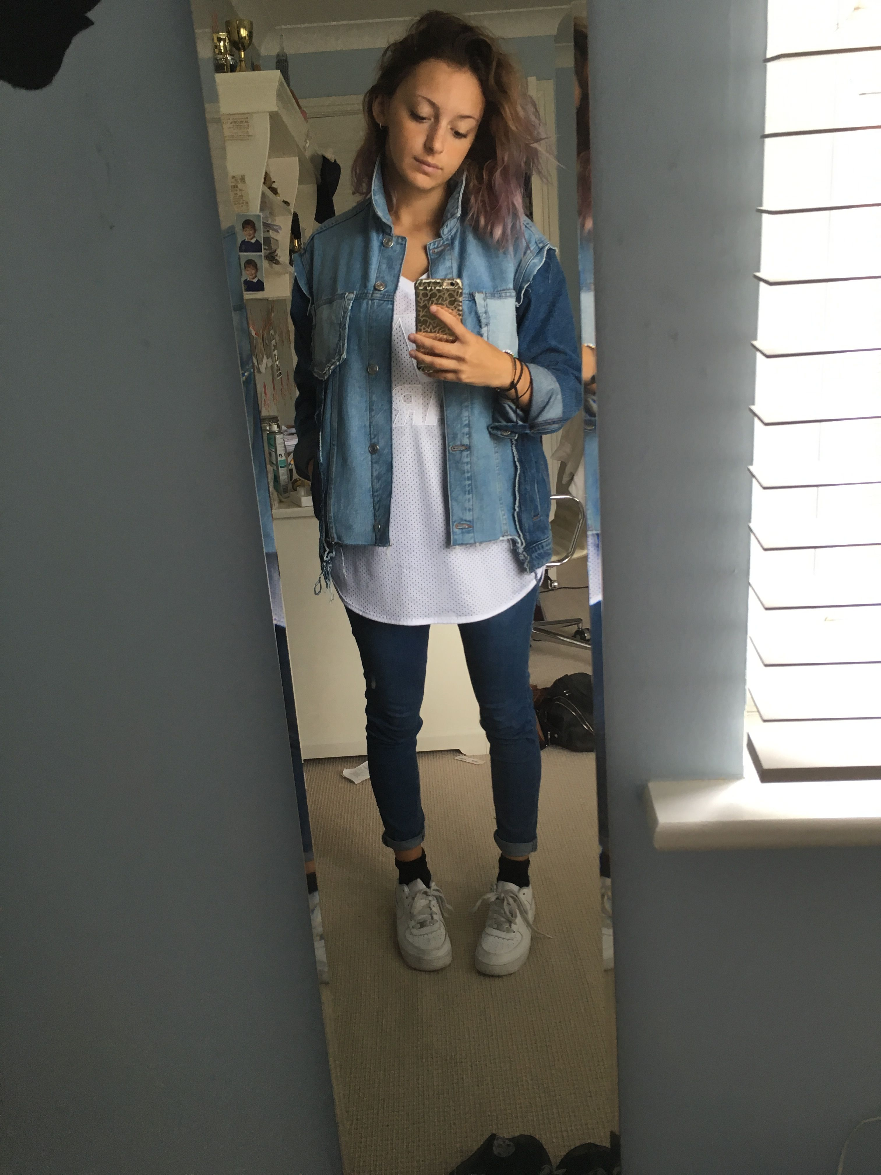 b55eef362cf57 Denim Mullet jacket and Jamie jeans (Topshop) mesh baseball top (Ivy Park)