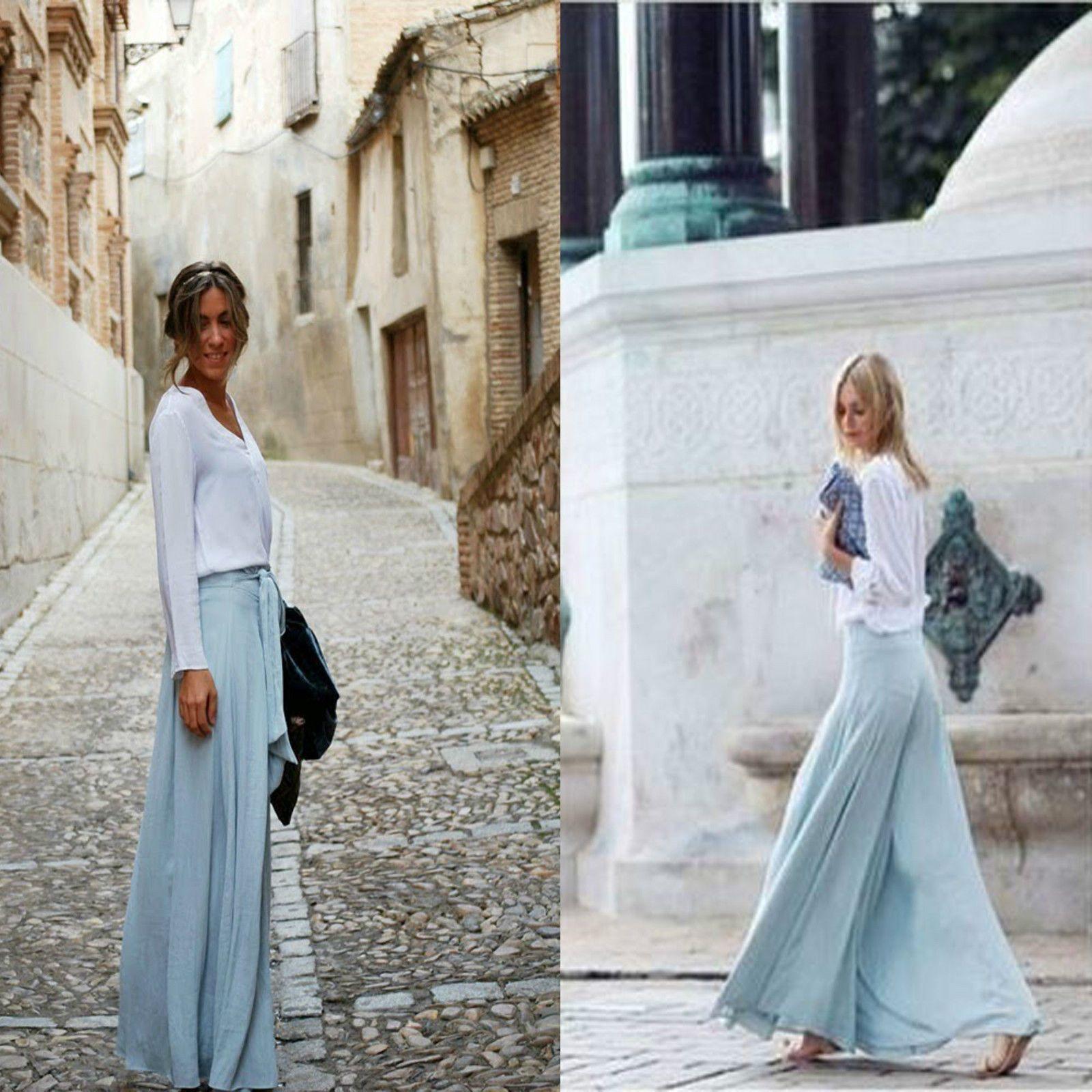 17886e4804 Zara Sky Light Blue Silky Wide Leg Palazzo Flowing Pants Trousers XS SML  Bloggs