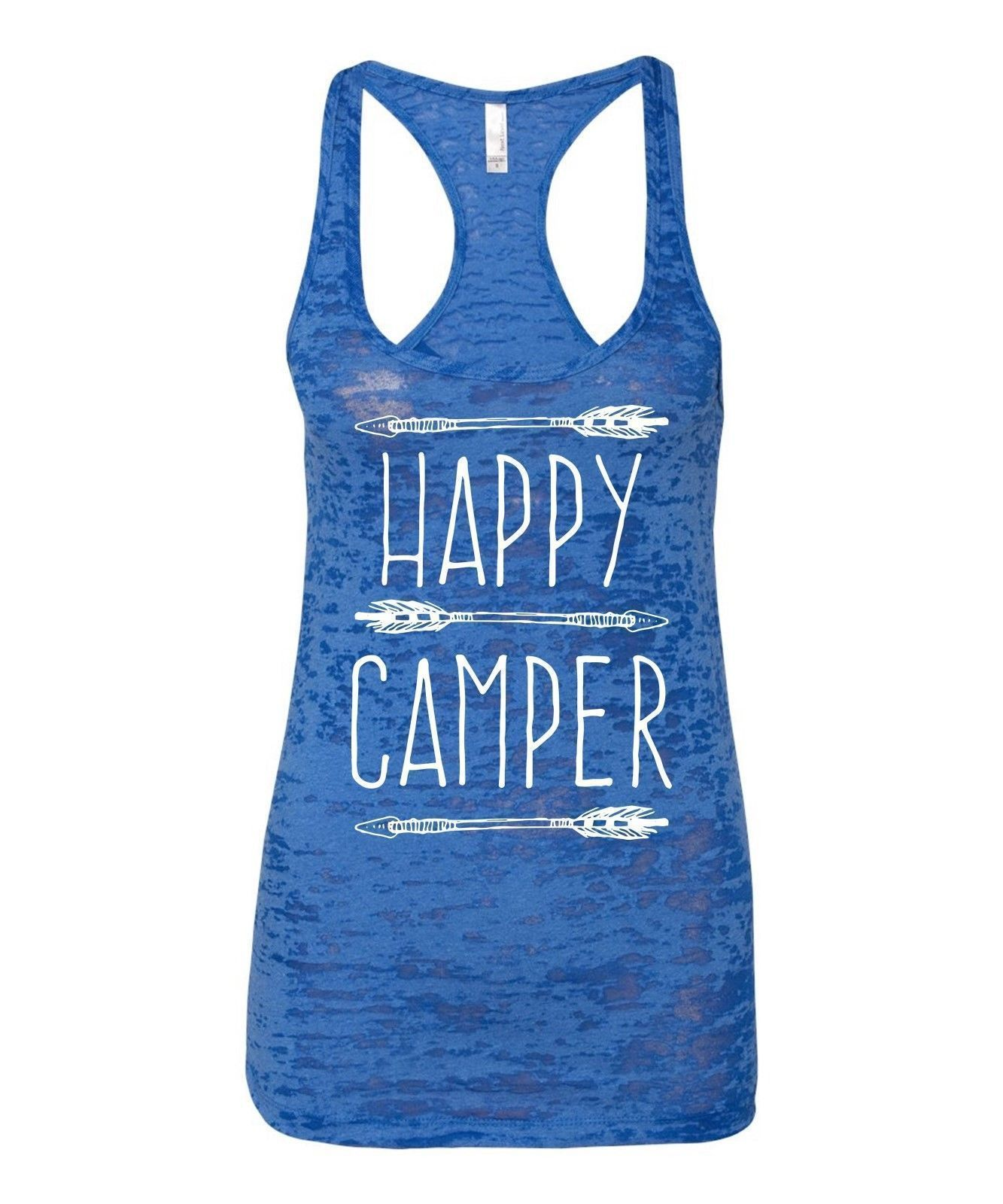 Burnout Tank Top Happy Camper I S Camping T Gear Ladies Jr Vacation Summer Gift