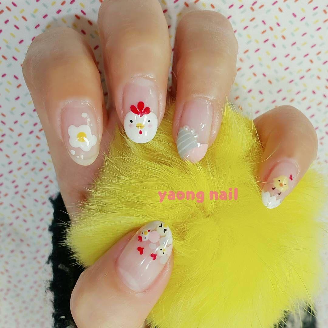 Cute kawaii chicken nails by @yaong_nail   Nails   Pinterest ...