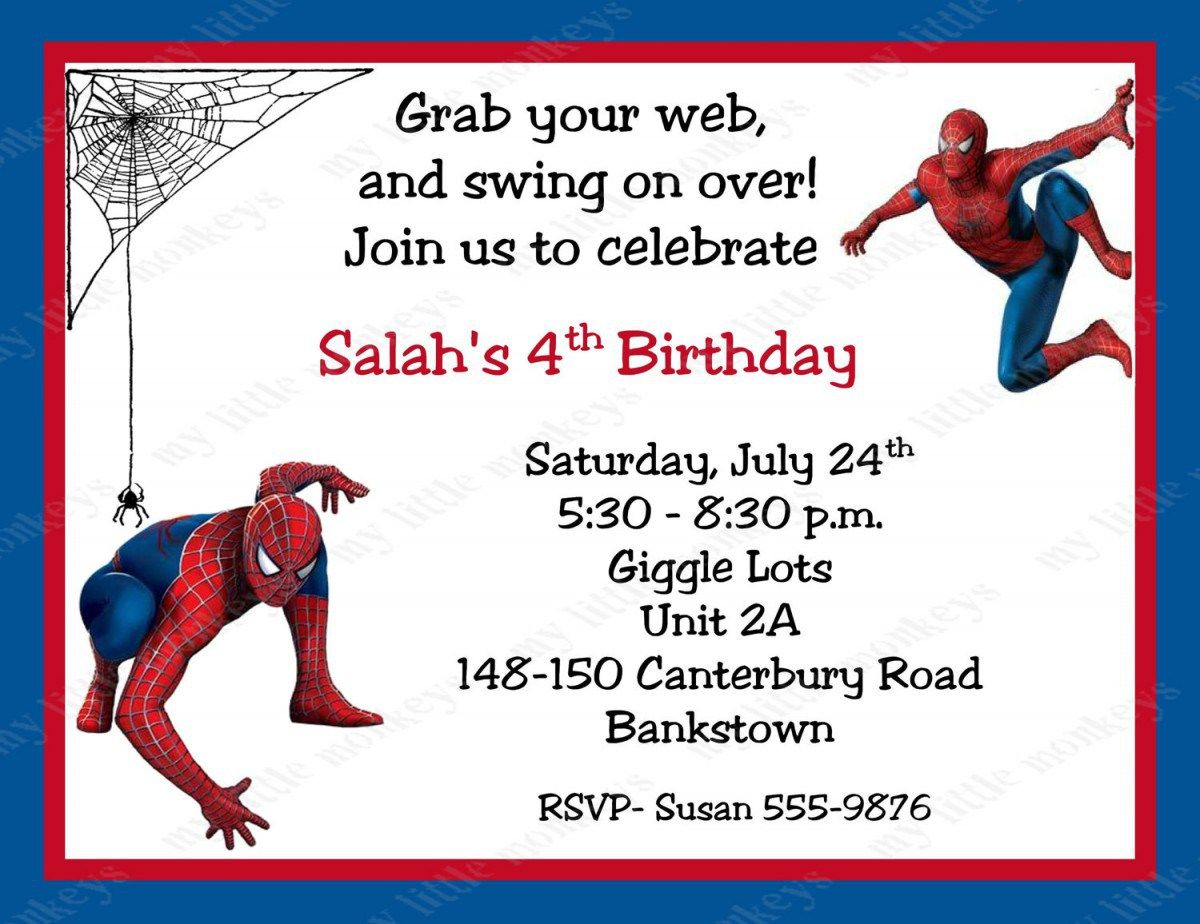 Spiderman Birthday Invitations Personalized Free Printable Invitation Cards
