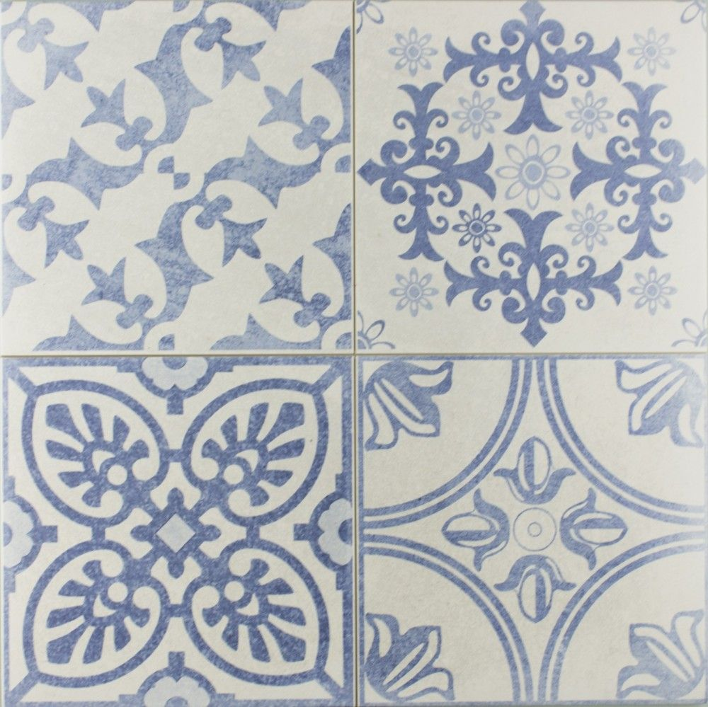Blue and white bathroom floor tiles - Skyros Delft Blue Wall And Floor Tile