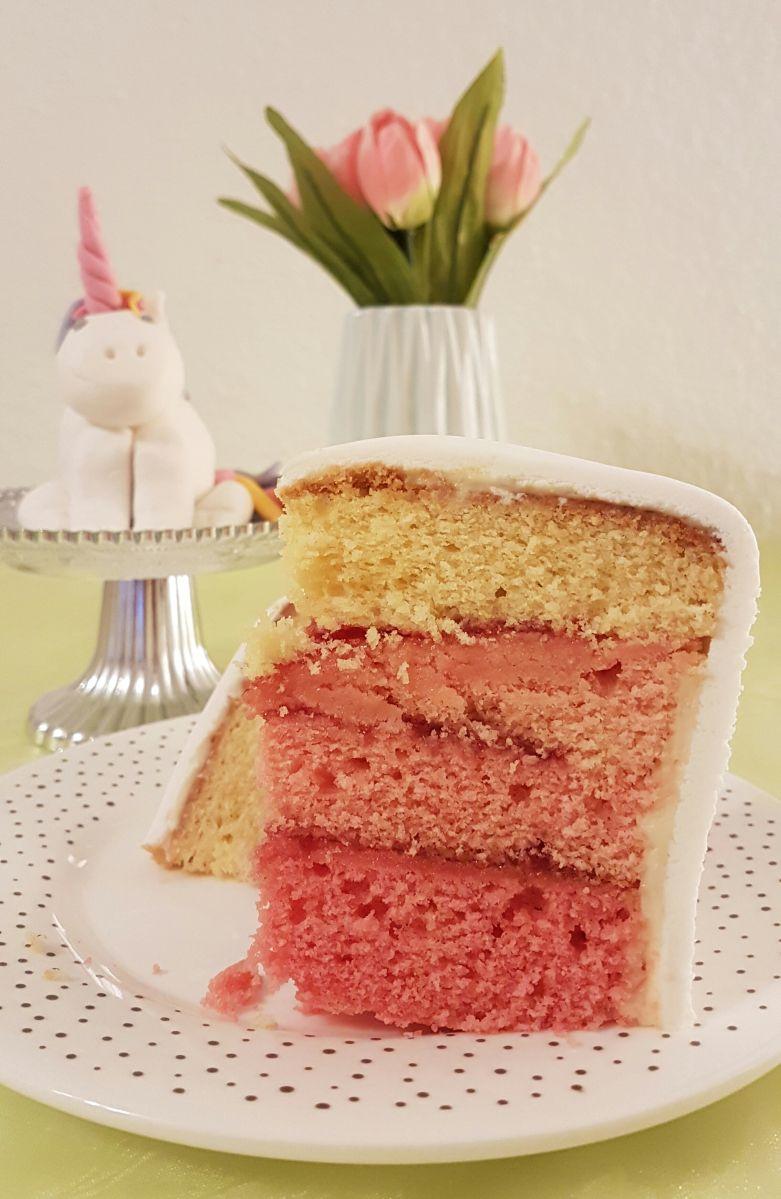 Ombre-Torte, Ombre-Kuchen, Fondant-Torte, Einhorn-Torte