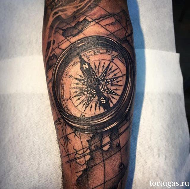 Картинки по запросу тату на всю руку компас   Темное тату ...