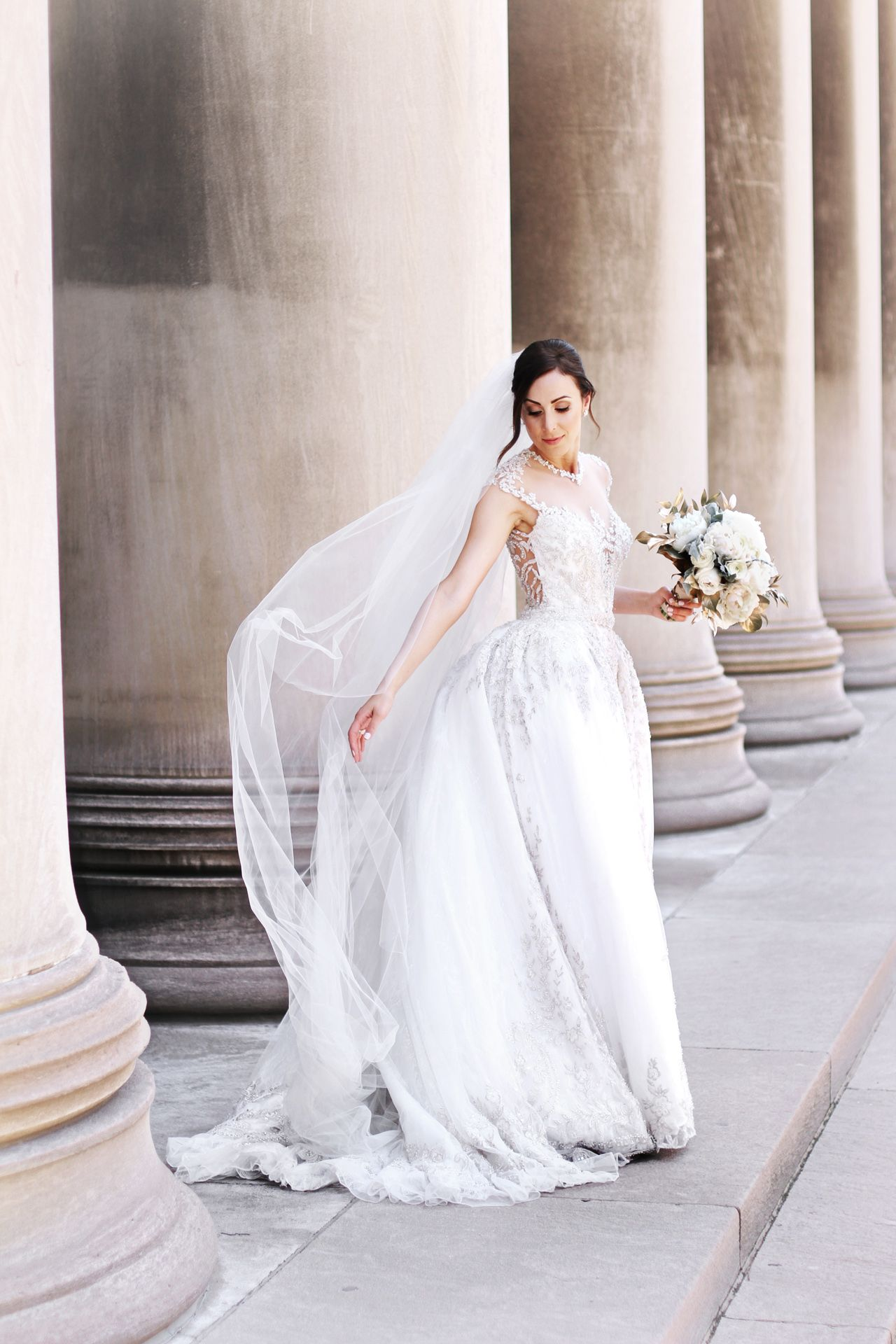 gorgeous bride at carnegie pillars in Pittsburgh, PA | Brides by ...