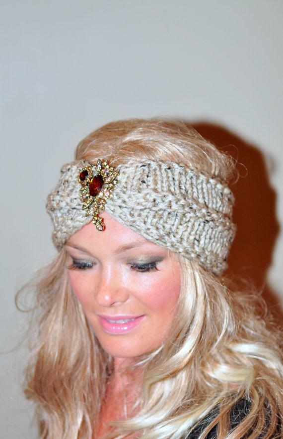 Broche cabeza de diadema turbante abrigo oído calentador | Crochet ...
