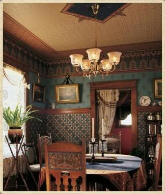 Photo of Don't be afraid of dark ceiling, great for making old house flaws vanish!