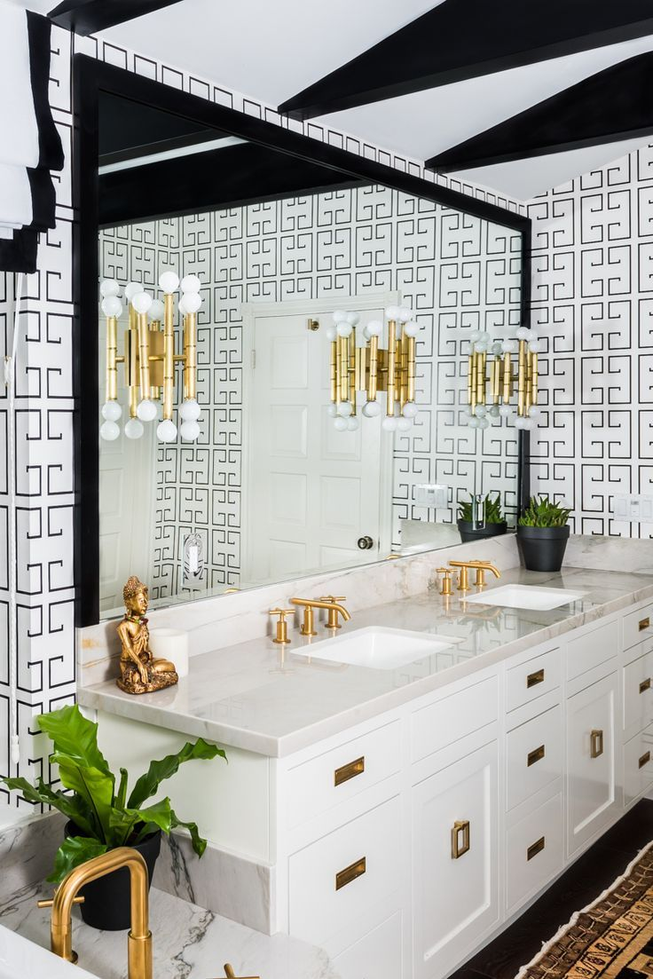 black and white bathroom/greek key wallpaper/gold sconces/One Room ...