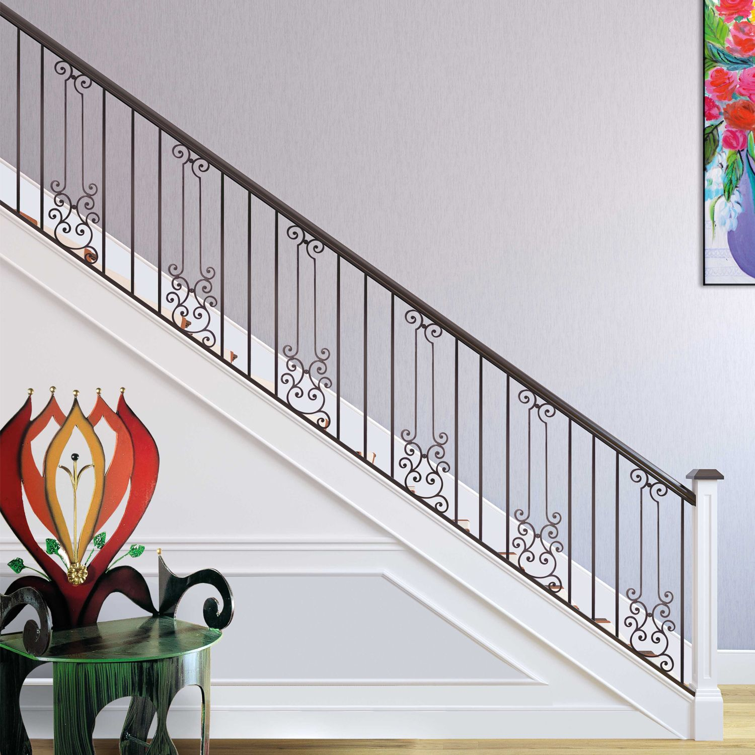 Our Wroughtiron Gonzato Design Panels Give Stairs And Railings That Classic Oldworld Look Railing Design Wrought Iron