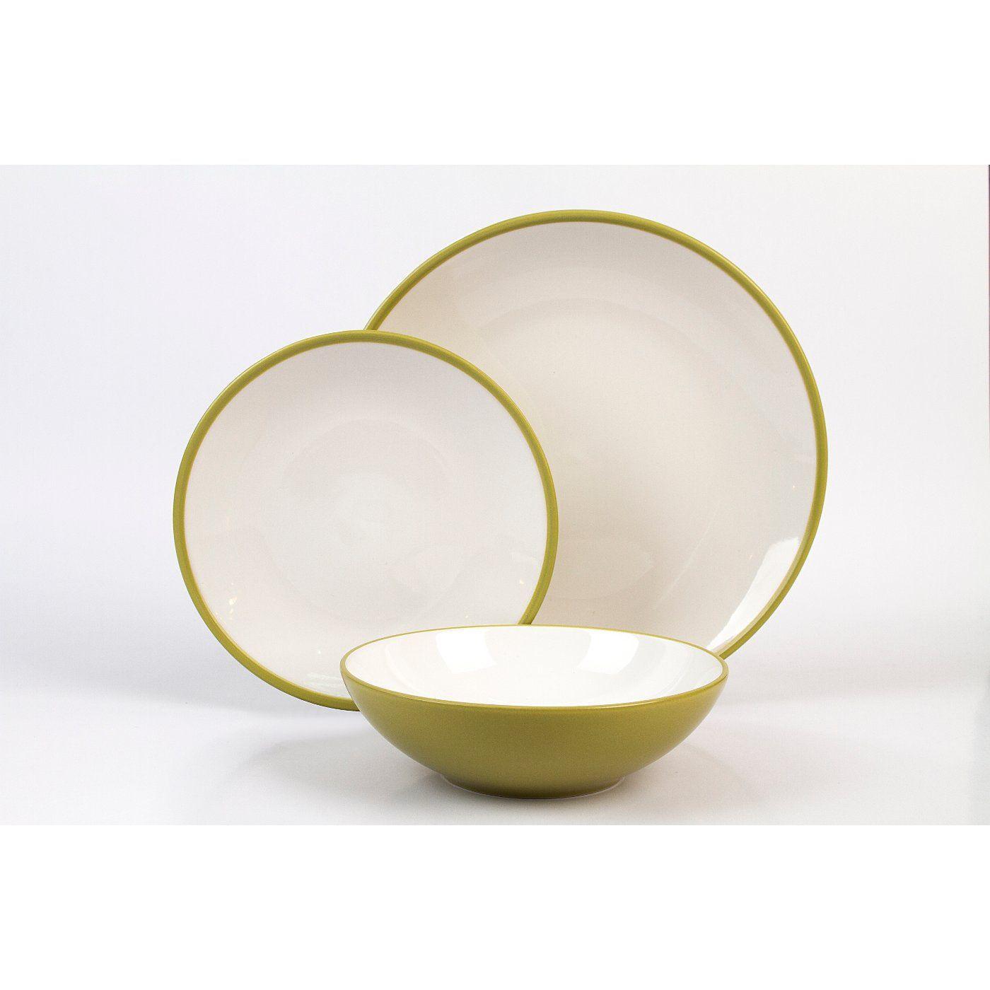 12 Piece Two Tone Matt Guacamole Dinner Set | Tablewares, Kitchen ...