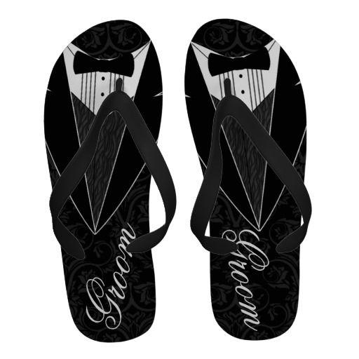 70f748c690935 Black Tux Groom Tuxedo Flip-Flops  groom  beachwedding  tuxedo ...