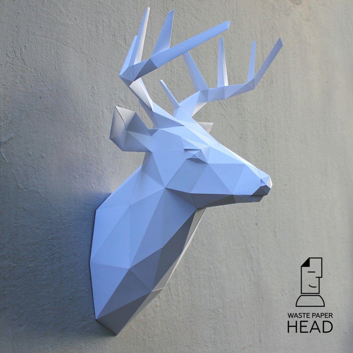 Papercraft deer head №3 - digital template | WastePaperHead ...