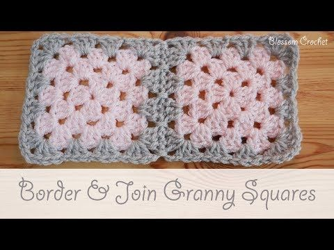 Easy Crochet How To Border Join Granny Squares Youtube In 2021 Joining Granny Squares Joining Crochet Squares Crochet Square Patterns