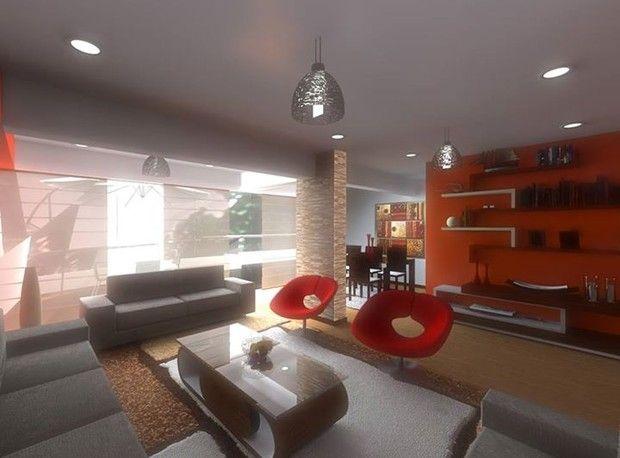 Sala amplia y moderna con piso de madera la iluminaci n for Iluminacion de piso