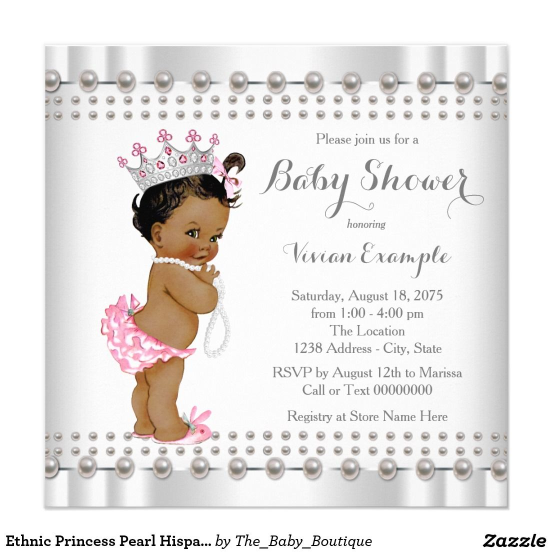 Ethnic princess pearl hispanic indian baby shower invitation ethnic princess pearl hispanic indian baby shower 525x525 square paper invitation card filmwisefo