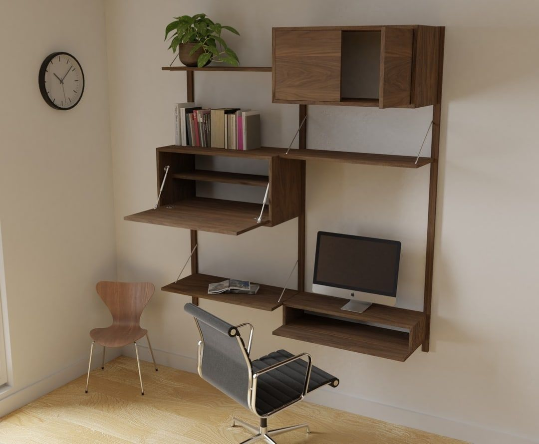 Mid Century Modern Modular Wall Storage System Shop In 2020 Mid Century Shelves Wall Storage Systems Mid Century Desk