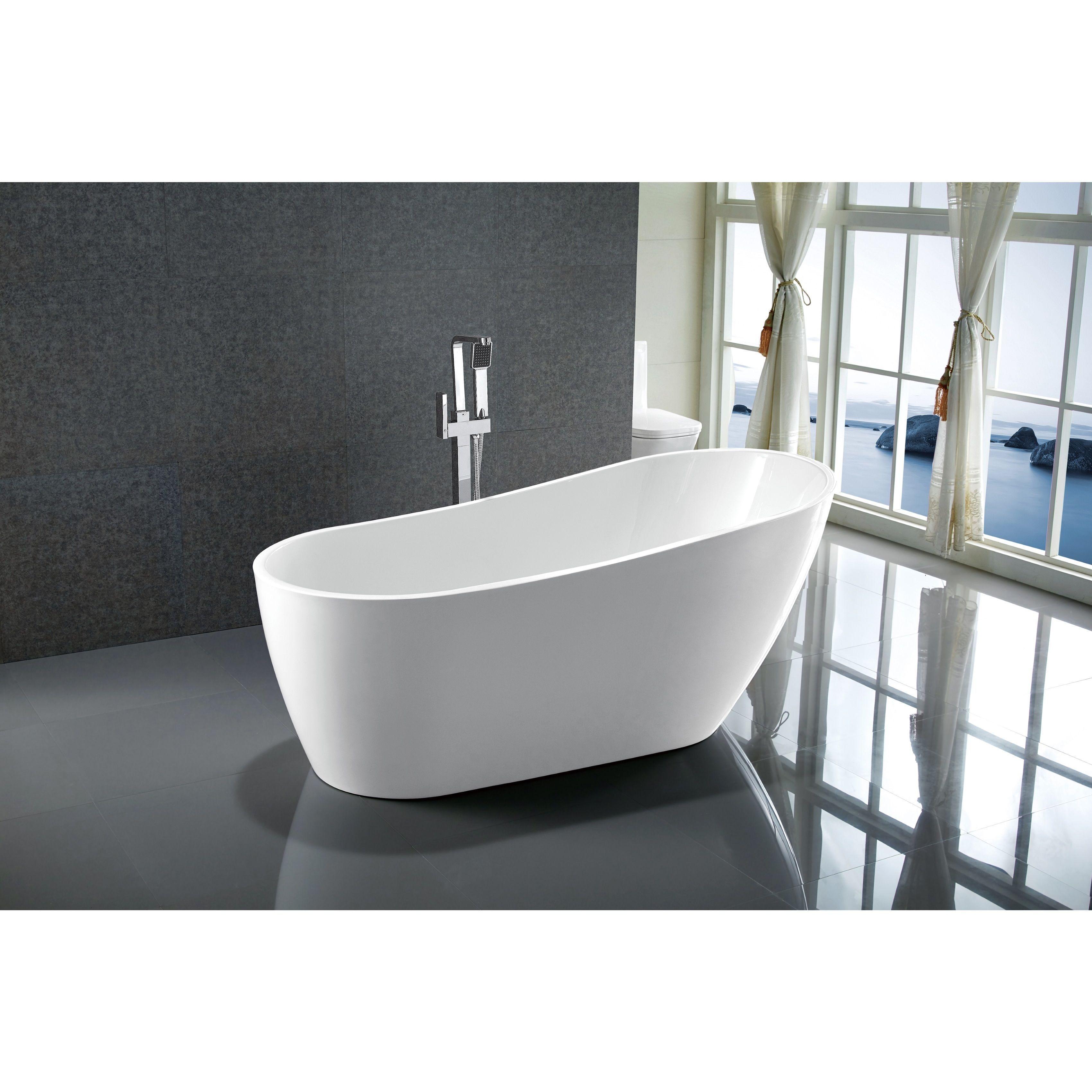 Vanity Art 67 Freestanding Acrylic Bathtub Stand Alone Soaking