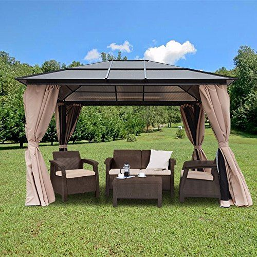 10u0027 x 12u0027 Hard Roof Patio Gazebo Aluminum Poles Heavy Dut. & 10u0027 x 12u0027 Hard Roof Patio Gazebo Aluminum Poles Heavy Dut... https ...