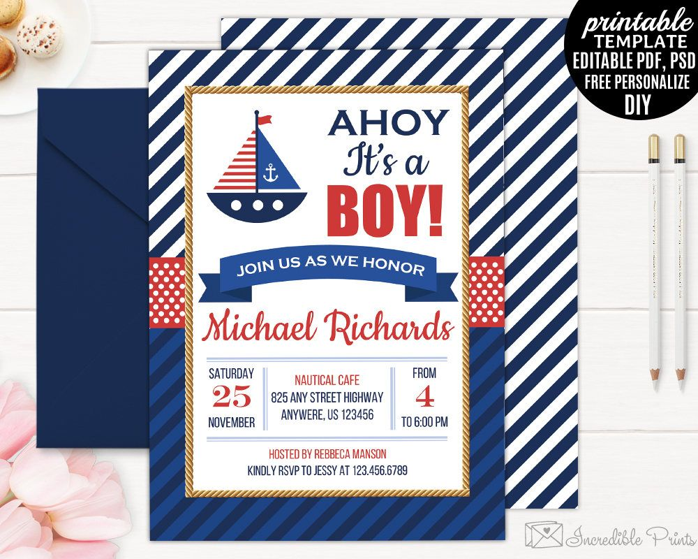 Nautical Baby Shower Invitation Template Printable Maritime Sea Sail ...