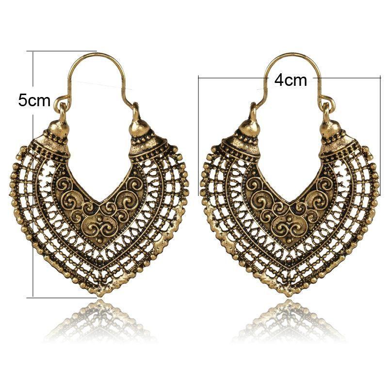 Boho Carved Geometry Metal Earring Drop Dangle Earrings Lady Girls Jewelry