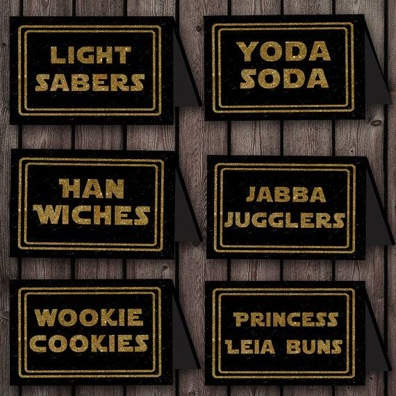 Star Wars Food Labels Printable Files 8 By Amyssimpledesigns Star Wars Food Star Wars Party Decorations Star Wars Baby Shower