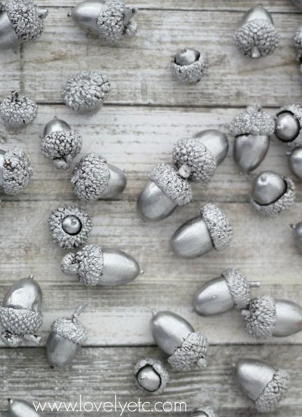 Painted Silver Acorn Holiday Decor