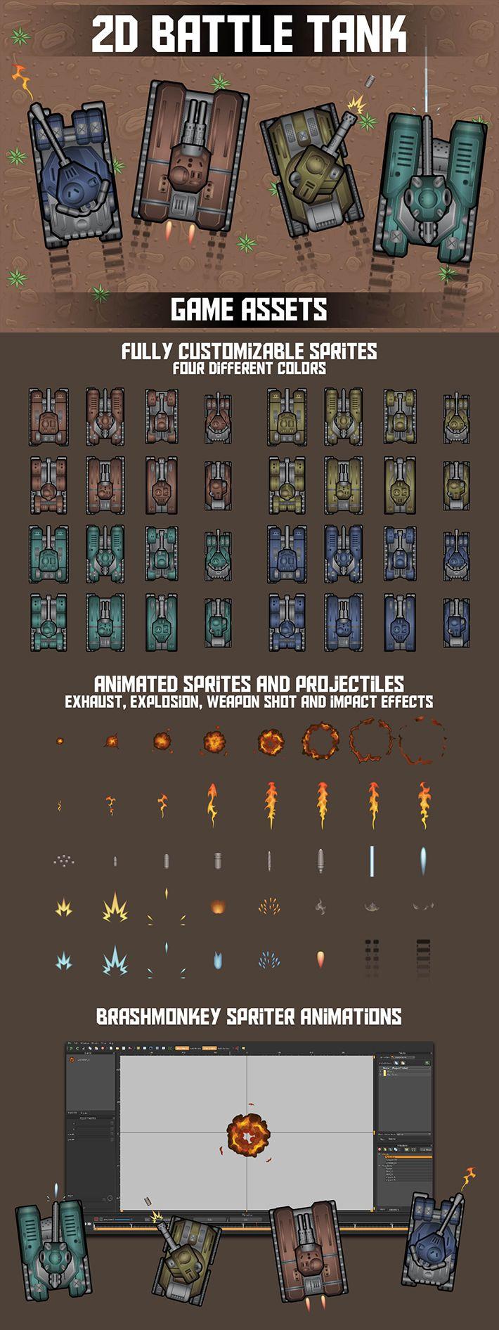 Free 2D Battle Tank Game Assets Игровой дизайн, Пиксель