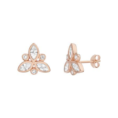08836d971 Lesa Michele Cubic Zirconia Floral Stud Earring in Rose Gold over Sterling  Silver, Women's, Size: One-Size