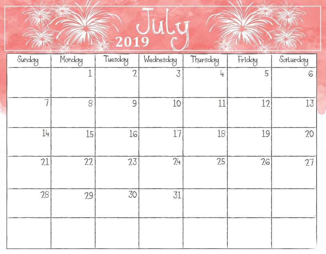 graphic regarding July Calendar Printable identify July 2019 Printable Calendar With Notes Cost-free Printable