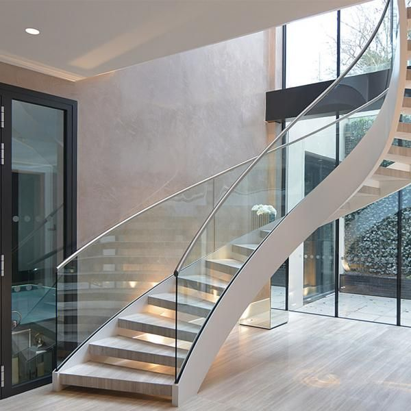 Best Modern Design Interior Curved Staircase With Tempered 400 x 300