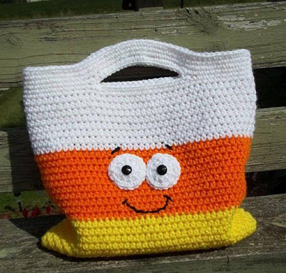 Candy Corn Halloween Bag, Trick or Treat Bag, Crochet Halloween Bag ...