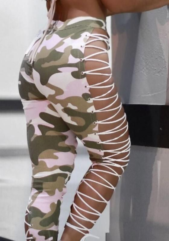 2a19c2de609 Pink Camouflage Print Cut Out Irregular Camo Lace-Up High Waisted ...