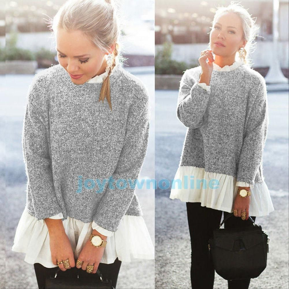 Women Oversized Knit Jumper Sweater Long Sleeve Tops Cardigan ...