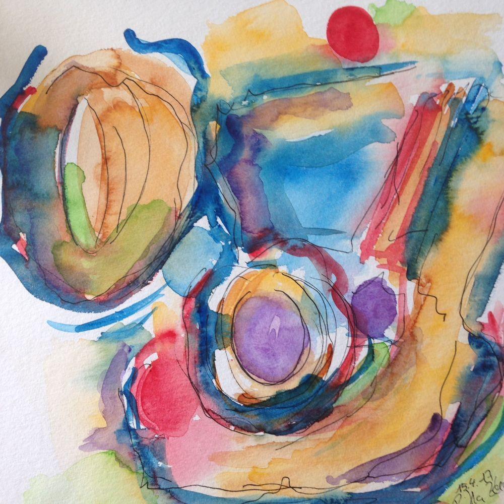"Aquarell , "" Abstrackt   ""  25,4 x 25,4 cm, Unikat in Antiquitäten & Kunst, Malerei, Aquarelle   eBay!"