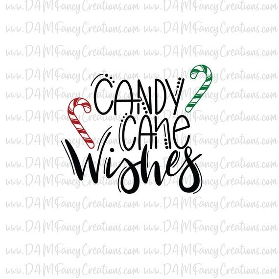 hand lettered christmas svg- candy cane wishes- cute