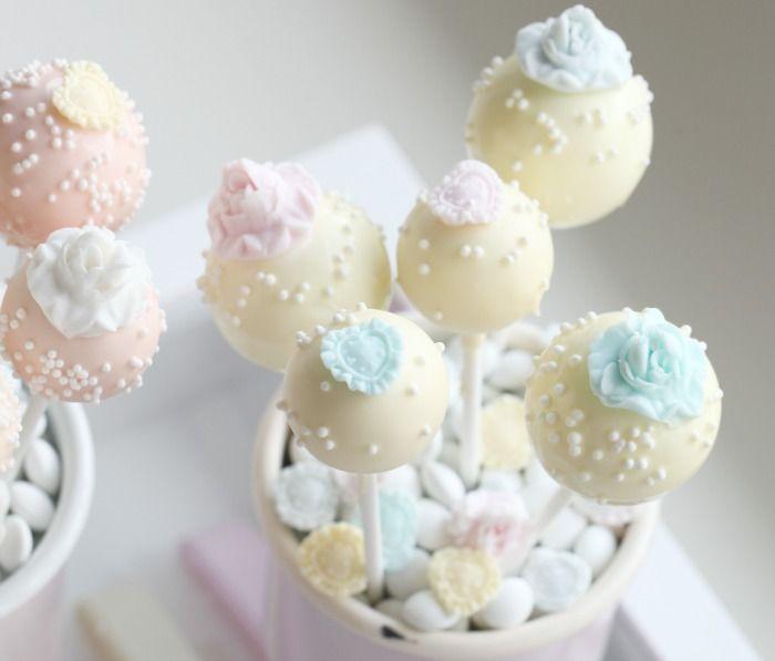 Vintage Vanilla Rose Cake Pops | ~The Cake Pop Shop ...