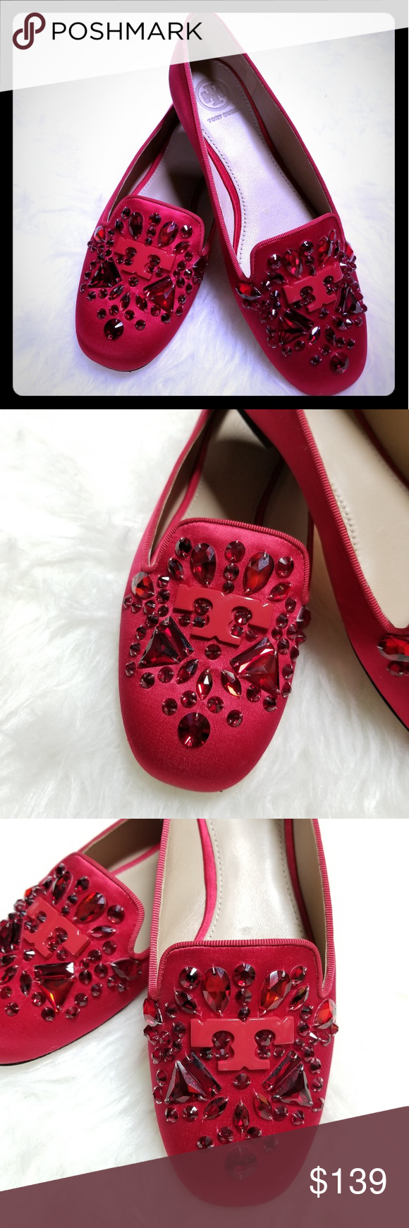 14f7e5dcee8 Tory Burch Delphine Embellished Red Loafers satin Scattered with sparkle