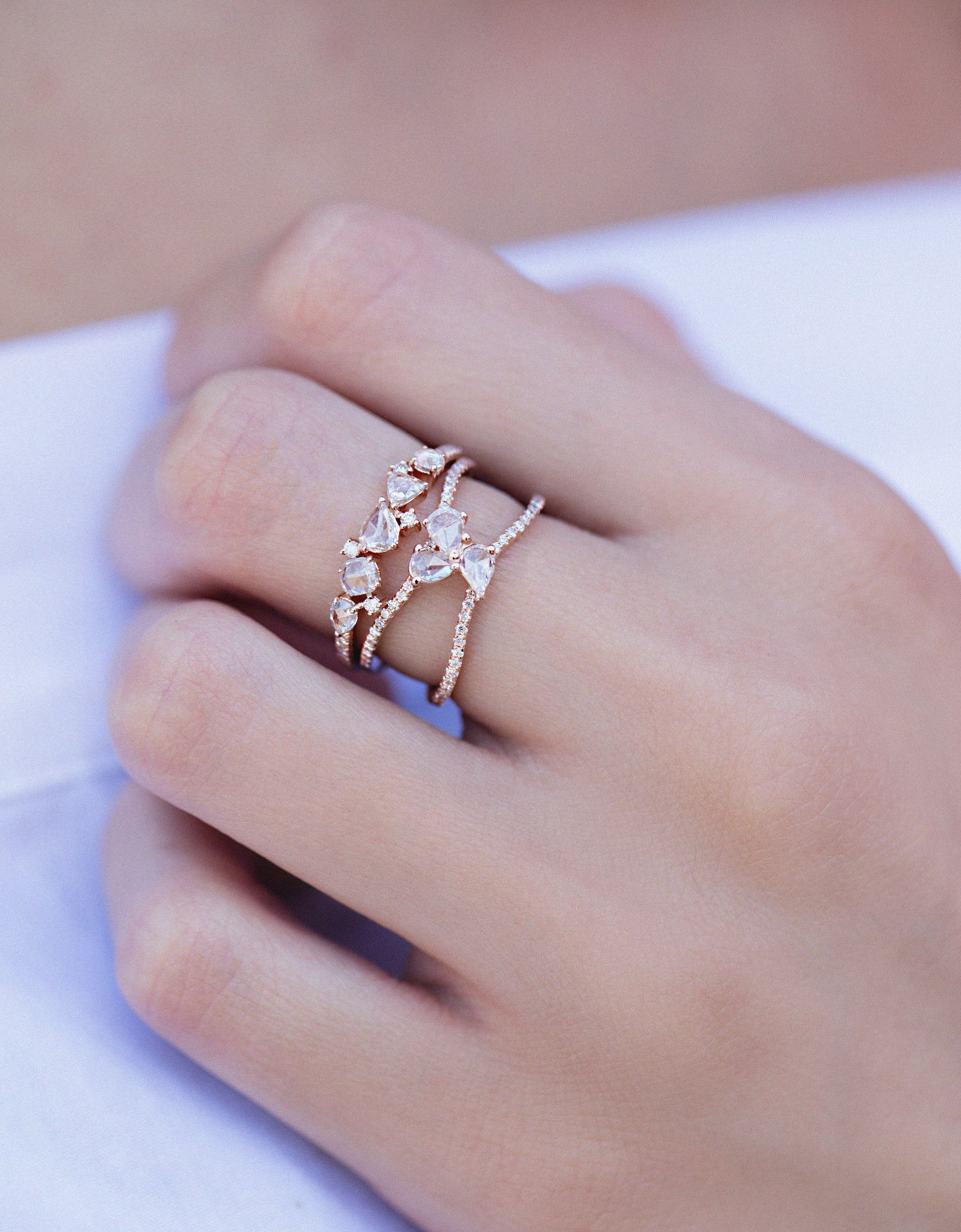 Cute style 14kt gold and rose cut diamond cluster ring – Luna