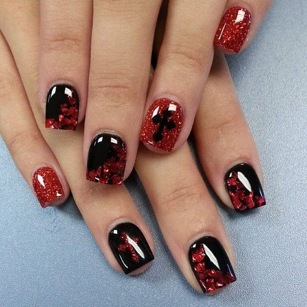 45 Stylish Red And Black Nail Designs Nails Pinterest