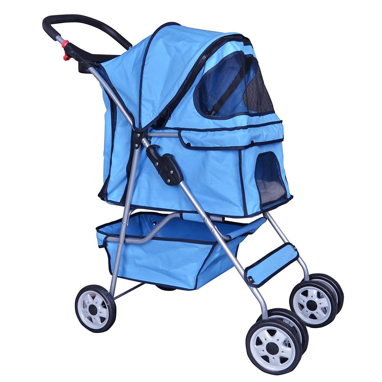 BestPet Blue 4 Wheels Pet Stroller Cat Dog Cage Stroller