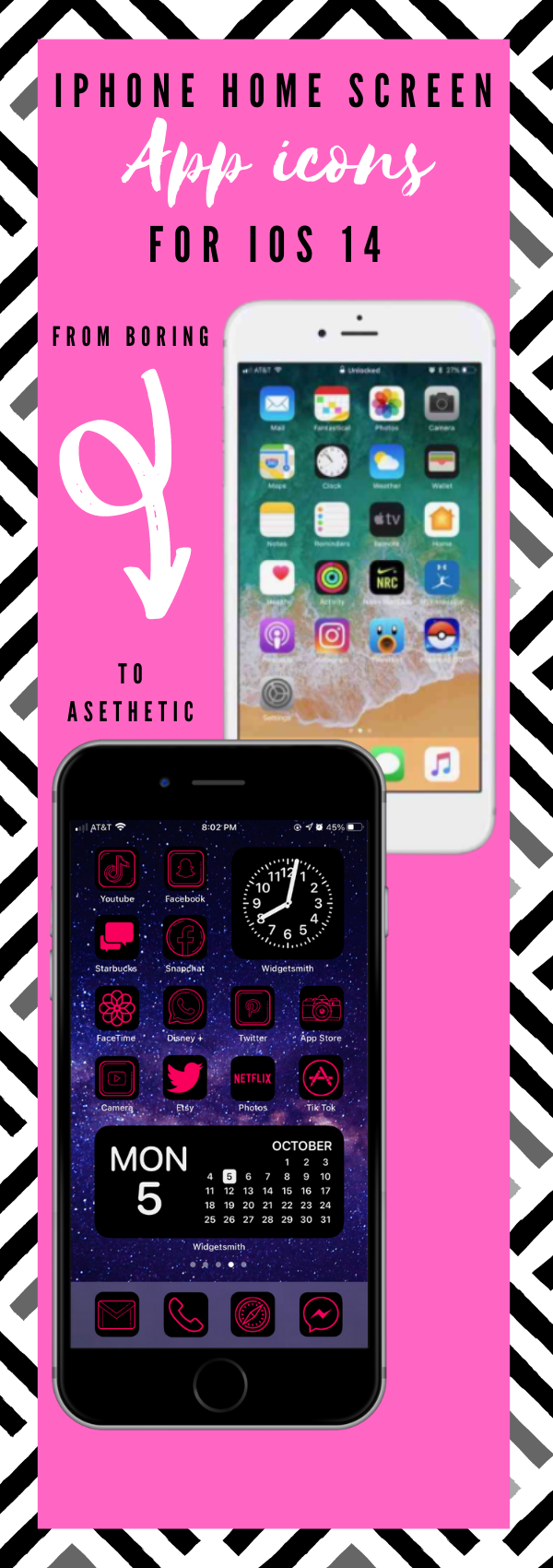 Neon pink app icons aesthetic to customize home screen!