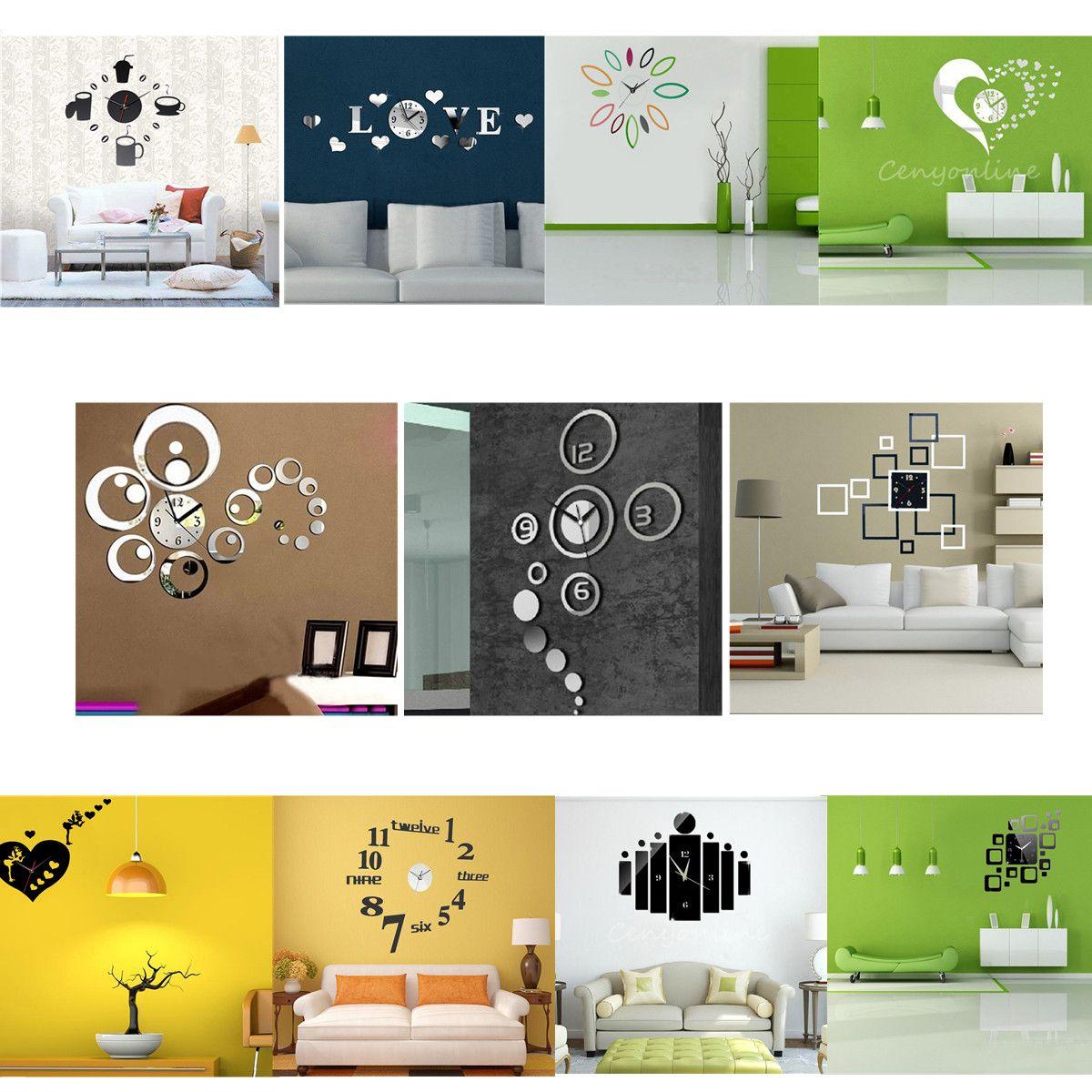 10 Style DIY 3D Miroir Horloge Murale Moderne Decoration Salon Chambre  Bureau   EBay