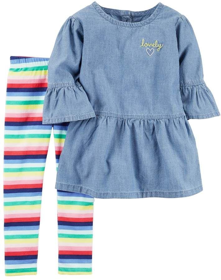 cd13dc07 Toddler Girl Carter's Chambray Tunic Top & Striped Leggings Set ...