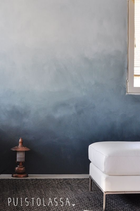 Ombre fire place wall, stucco or paint, maybe with high gloss tile mantel  and cement bench *** DIY: painted ombr wall, smoother degrade with Wagner  sprayer ...
