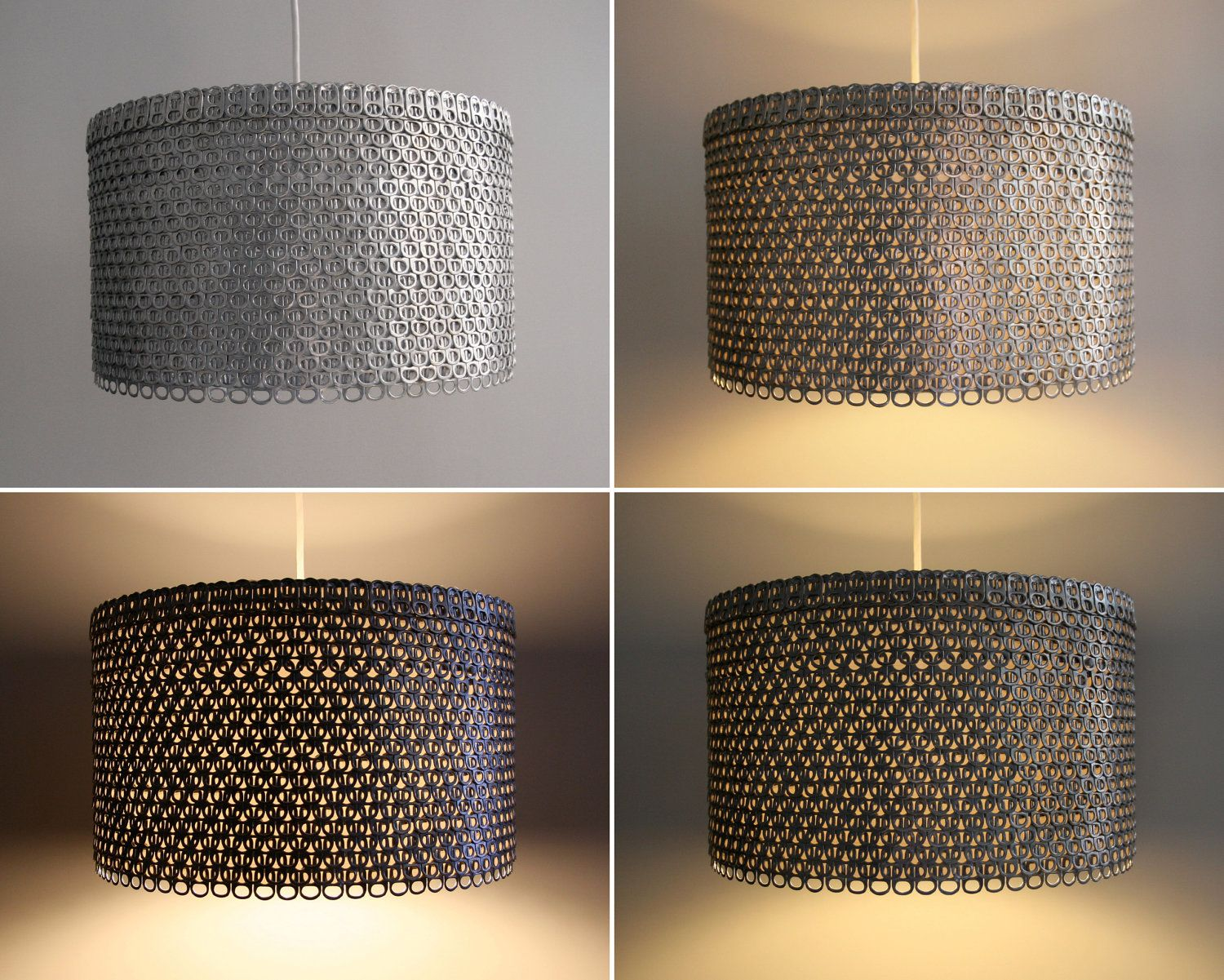 Soda Can Tab Drum Shade Large Eco Friendly Pendant Light Shade 350 00 Via Etsy Lamparas Artesanales Chapitas De Lata De Refresco Pantallas De Lamparas