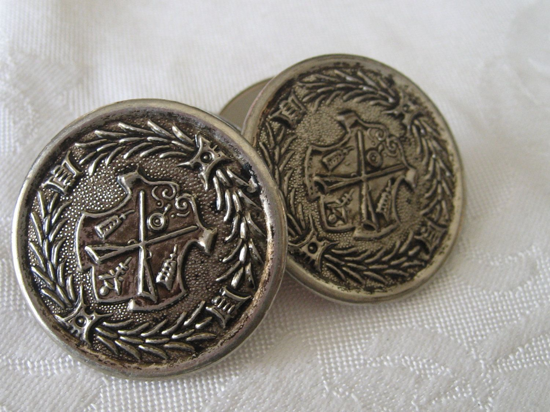 Set of 4 Very Large VINTAGE Silver Metal Coat of Arms